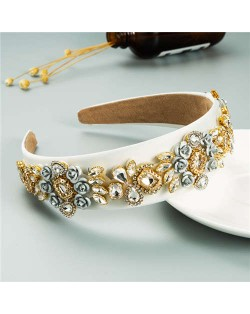 Royal Flower Inlaid Rinestone European Fashion Women Hair Hoop - Beige
