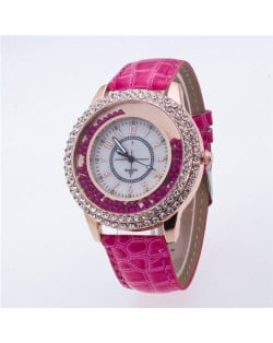 Rhinestone Rimmed with Moving Beads Decoration Design High Fashion Wrist Watch - Rose