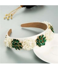 Artificial Pearl and Rhinestone Floral Combo Vintage Baroque Style Luxurious Hair Hoop - Green
