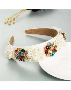 Artificial Pearl and Rhinestone Floral Combo Vintage Baroque Style Luxurious Hair Hoop - Multicolor