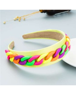 Wholesale Accessories Candy Color Chain Embellished Folk Style Fashion Hair Hoop - Yellow