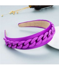 Wholesale Accessories Candy Color Chain Embellished Folk Style Fashion Hair Hoop - Purple