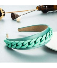 Wholesale Accessories Candy Color Chain Embellished Folk Style Fashion Hair Hoop - Teal