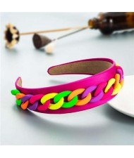 Wholesale Accessories Candy Color Chain Embellished Folk Style Fashion Hair Hoop - Multicolor