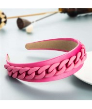 Wholesale Accessories Candy Color Chain Embellished Folk Style Fashion Hair Hoop - Pink