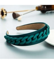 Wholesale Accessories Candy Color Chain Embellished Folk Style Fashion Hair Hoop - Green