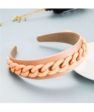 Wholesale Accessories Candy Color Chain Embellished Folk Style Fashion Hair Hoop - Champagne