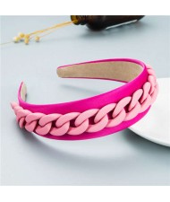 Wholesale Accessories Candy Color Chain Embellished Folk Style Fashion Hair Hoop - Rose