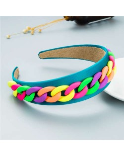 Wholesale Accessories Candy Color Chain Embellished Folk Style Fashion Hair Hoop - Blue