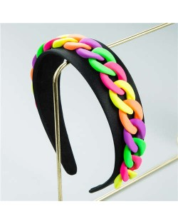 Wholesale Accessories Candy Color Chain Embellished Folk Style Fashion Hair Hoop - Black and Multicolor
