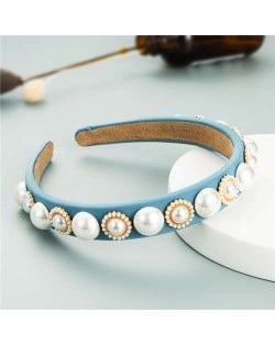 Minimalist Design Artificial Pearl Floral Vintage Fashion Baroque Style Hair Hoop - Light Blue