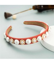 Minimalist Design Artificial Pearl Floral Vintage Fashion Baroque Style Hair Hoop - Light Red