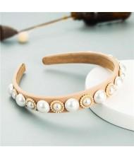Minimalist Design Artificial Pearl Floral Vintage Fashion Baroque Style Hair Hoop - Khaki