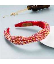 Internet Celebrity Choice Shining Beads Decorated Sponge Luxurious Bling Hair Hoop - Red