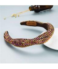 Internet Celebrity Choice Shining Beads Decorated Sponge Luxurious Bling Hair Hoop - Brown
