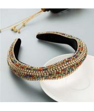 Luxurious Style Unique Geometric Colorful Rhinestone Embellishment Sponge Fashion Hair Hoop
