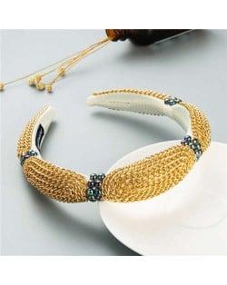Korean Bold Golden Chain Weaving Design French Romantic Hair Hoop - Beige