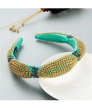Korean Bold Golden Chain Weaving Design French Romantic Hair Hoop - Green