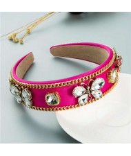 Rhinestone Butterfly Decorated Vintage Personality Alloy Chain Embellished Women Hair Hoop - Rose