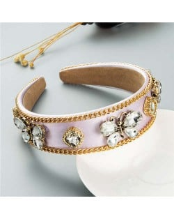 Rhinestone Butterfly Decorated Vintage Personality Alloy Chain Embellished Women Hair Hoop - Violet