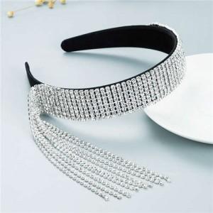 Baroque Fashion Luxurious Style Shining Rhinestone Tassel Design Classic Bling Hair Hoop - Black