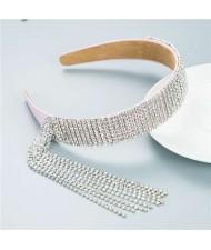 Baroque Fashion Luxurious Style Shining Rhinestone Tassel Design Classic Bling Hair Hoop - Pink