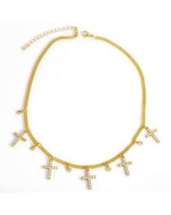 U.S. Vintage Thin Chain Cross Pendants Classic Design Women Statement Copper Necklace