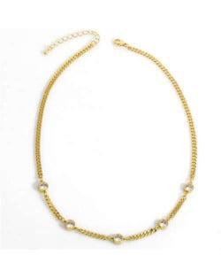 U.S. Vintage Thin Chain Rhinestone Inlaid Classic Design Women Statement Copper Necklace