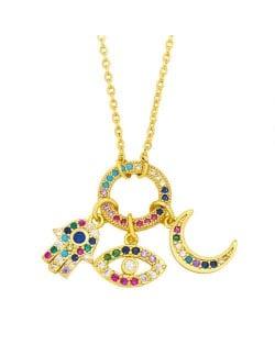 U.S. Wholesale Jewelry Eye and Moon Multiple Combo Minimalist Design High Fashion Women Copper Necklace - Multicolor