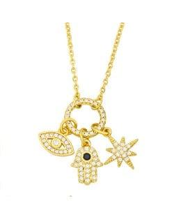U.S. Wholesale Jewelry Eye and Moon Multiple Combo Minimalist Design High Fashion Women Copper Necklace - White