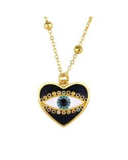 Heart Shape Enamel Eye Cubic Zirconia Rimmed Women Oil-spot Glazed Copper Necklace