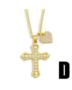 Vintage Cross and Heart Shape Pendant Combo Women Luxurious Copper Necklace - Design C