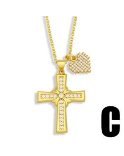 Vintage Cross and Heart Shape Pendant Combo Women Luxurious Copper Necklace - Design D