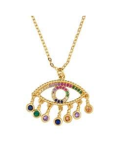 Bohemian Style Hollow-out Rhinestone Eye Pendant Women Wholesale Vintage Costume Copper Necklace