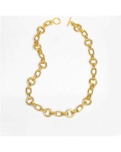 U.S. Hip-hop Style Fashion Golden Link Chain Classic Design Bold Women Wholesale Copper Necklace