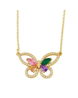 Hollow-out Colorful Cubic Zirconia Inlaid Butterfly Classical Design Elegant Women Wholesale Necklace