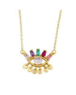 Colorful Cubic Zirconia Eye Pendant Unique Design Women Statement Wholesale Necklace