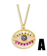 Rhinestone Eye Minimalist Design Hollow-out Oval Pendant Women Statement Copper Necklace