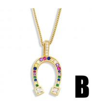 U.S. Fashion Rhinestone Inlaid Horse Hoof Inspired Pendant Women Copper Necklace