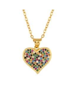 Internet Celebrity Preferred Colorful Rhinestone Inlaid Heart Wholesale Jewelry Women/ Men Copper Necklace