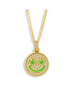 U.S. Hip-hop Round Shape Smiling Pendant Classic Design Fashion Women Copper Wholesale Necklace - Green