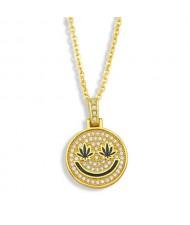 U.S. Hip-hop Round Shape Smiling Pendant Classic Design Fashion Women Copper Wholesale Necklace - Black