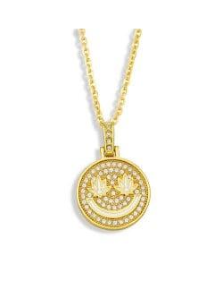 U.S. Hip-hop Round Shape Smiling Pendant Classic Design Fashion Women Copper Wholesale Necklace - White