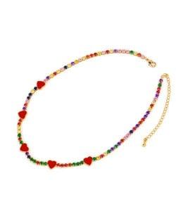 Hearts Decorated Rhinestone Chain Minimalist Design High Fashion Women Copper Wholesale Necklace - Colorful Red