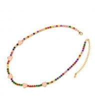 Hearts Decorated Rhinestone Chain Minimalist Design High Fashion Women Copper Wholesale Necklace - Colorful Pink