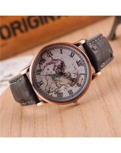 Vintage World Map Design Roman Numeral Leather Wrist Watch - Gray