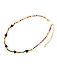 Hearts Decorated Rhinestone Chain Minimalist Design High Fashion Women Copper Wholesale Necklace - Colorful Black