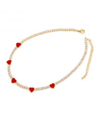 Hearts Decorated Rhinestone Chain Minimalist Design High Fashion Women Copper Wholesale Necklace - Red