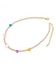 Hearts Decorated Rhinestone Chain Minimalist Design High Fashion Women Copper Wholesale Necklace - Multicolor