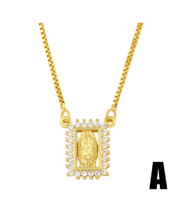 Square Shape Hollow-out Rhinestone Rimmed God Design Wholesale Jewelry Luxurious Copper Necklace